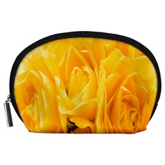 Yellow Neon Flowers Accessory Pouches (Large)