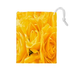 Yellow Neon Flowers Drawstring Pouches (Large)