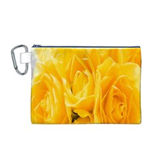 Yellow Neon Flowers Canvas Cosmetic Bag (M)