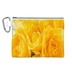 Yellow Neon Flowers Canvas Cosmetic Bag (L)