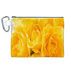 Yellow Neon Flowers Canvas Cosmetic Bag (XL)