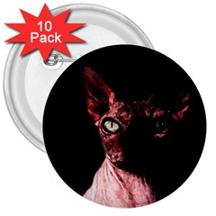 Sphynx cat 3  Buttons (10 pack)