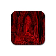 Tunnel Red Black Light Rubber Square Coaster (4 Pack)