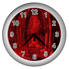 Tunnel Red Black Light Wall Clocks (silver)