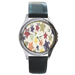 Star Colorful Surface Round Metal Watch