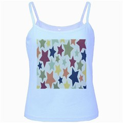 Star Colorful Surface Baby Blue Spaghetti Tank