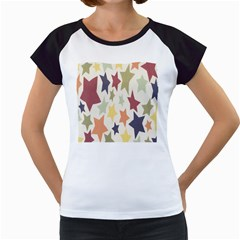 Star Colorful Surface Women s Cap Sleeve T
