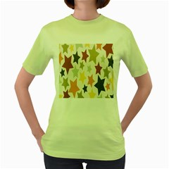 Star Colorful Surface Women s Green T Shirt