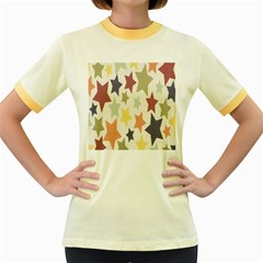 Star Colorful Surface Women s Fitted Ringer T-Shirts
