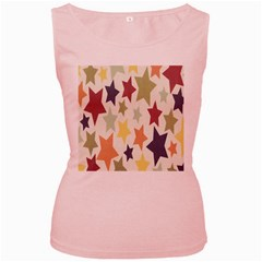 Star Colorful Surface Women s Pink Tank Top