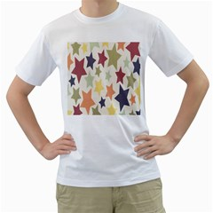 Star Colorful Surface Men s T-Shirt (White) (Two Sided)