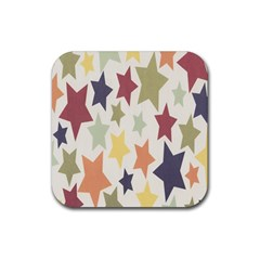 Star Colorful Surface Rubber Square Coaster (4 Pack)