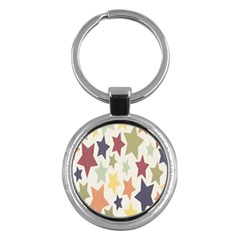 Star Colorful Surface Key Chains (round)