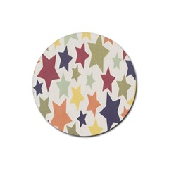 Star Colorful Surface Rubber Round Coaster (4 pack)
