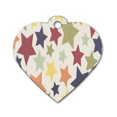 Star Colorful Surface Dog Tag Heart (two Sides)
