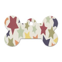 Star Colorful Surface Dog Tag Bone (one Side)