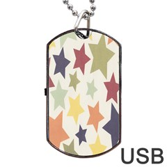 Star Colorful Surface Dog Tag Usb Flash (one Side)