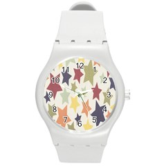 Star Colorful Surface Round Plastic Sport Watch (M)