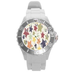 Star Colorful Surface Round Plastic Sport Watch (L)