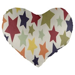 Star Colorful Surface Large 19  Premium Heart Shape Cushions