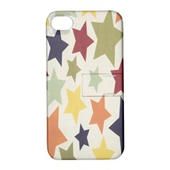Star Colorful Surface Apple iPhone 4/4S Hardshell Case with Stand