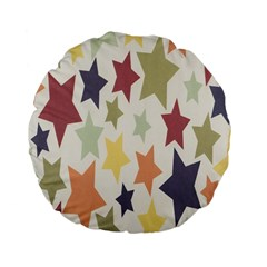 Star Colorful Surface Standard 15  Premium Flano Round Cushions