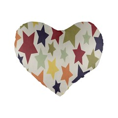 Star Colorful Surface Standard 16  Premium Flano Heart Shape Cushions