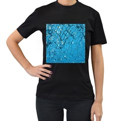 Surface Grunge Scratches Old Women s T-Shirt (Black) (Two Sided)