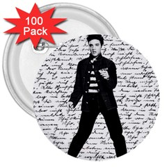 Elvis 3  Buttons (100 pack)