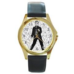 Elvis Round Gold Metal Watch