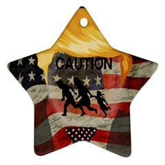 Caution Star Ornament (Two Sides)