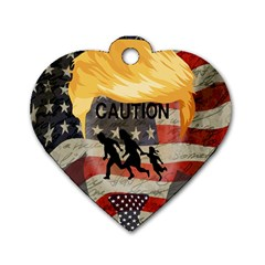 Caution Dog Tag Heart (Two Sides)