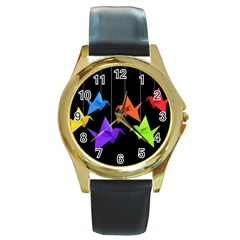 Paper cranes Round Gold Metal Watch
