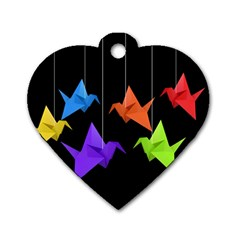 Paper cranes Dog Tag Heart (One Side)