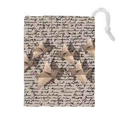 Paper cranes Drawstring Pouches (Extra Large)