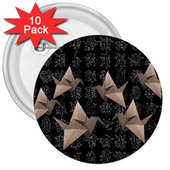 Paper cranes 3  Buttons (10 pack)