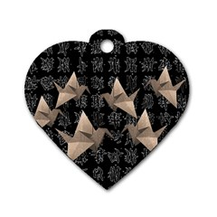 Paper cranes Dog Tag Heart (Two Sides)