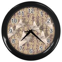 Paper cranes Wall Clocks (Black)