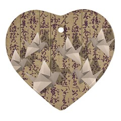 Paper cranes Heart Ornament (Two Sides)