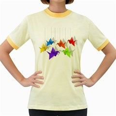 Paper cranes Women s Fitted Ringer T-Shirts
