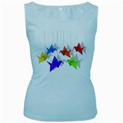Paper cranes Women s Baby Blue Tank Top