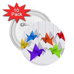 Paper cranes 2.25  Buttons (10 pack)
