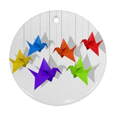 Paper cranes Round Ornament (Two Sides)