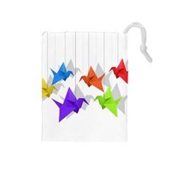 Paper cranes Drawstring Pouches (Medium)