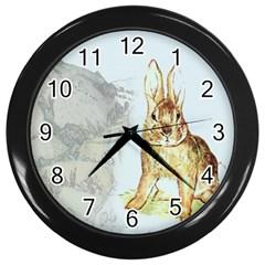 Rabbit  Wall Clocks (Black)