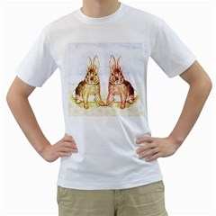 Rabbits  Men s T-Shirt (White) (Two Sided)