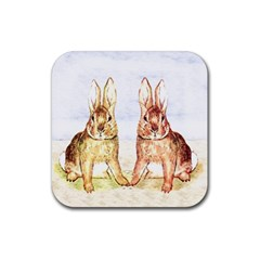 Rabbits  Rubber Coaster (Square)