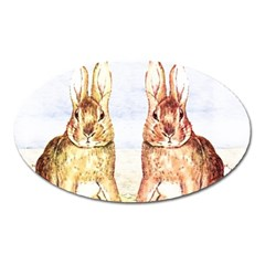 Rabbits  Oval Magnet