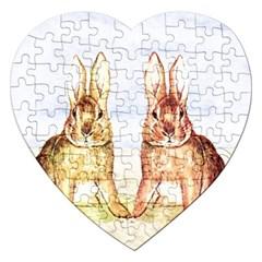 Rabbits  Jigsaw Puzzle (Heart)