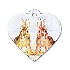 Rabbits  Dog Tag Heart (Two Sides)